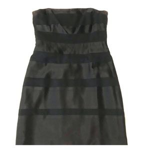 LAUNDRY BY SHELLI SEGAL Black Striped Party Dress